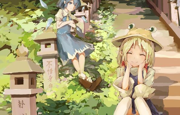 Картинка улыбка, две, шляпа, Япония, фонари, лестница, ступени, Moriya Suwako, в лесу, Cirno, лопухи, Touhou Project, …