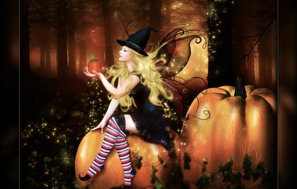Картинка лес, девушка, тыква, Digital Art, brandrificus, time for tricks and treats