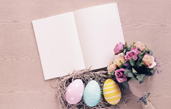 Картинка цветы, розы, яйца, весна, colorful, Пасха, сено, wood, flowers, spring, Easter, eggs, roses, decoration, Happy, …