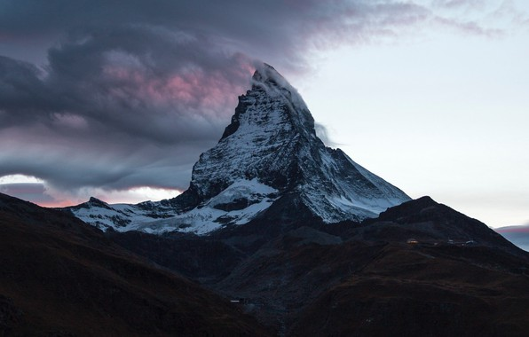 Картинка облака, гора, Швейцария, вершина, Switzerland, mountain, Matterhorn, Ма́ттерхорн
