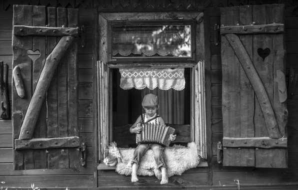 Фото обои мальчик, дом, гармошка