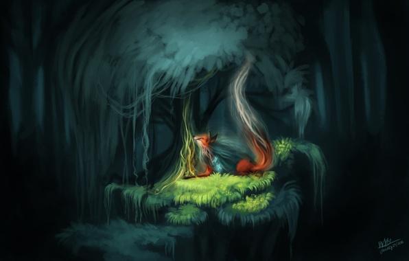 Фото обои лес, лиса, лесной дух, природа, бабочки, фэнтези, by TehChan