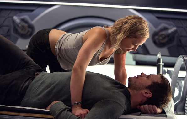 Фото обои Jennifer Lawrence, Пассажиры, Крис Пратт, Chris Pratt, Дженнифер Лоуренс, Passengers
