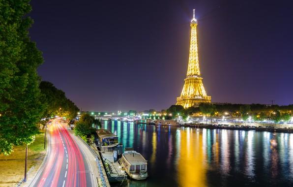 Картинка огни, река, Франция, Париж, Сена, Эйфелева башня