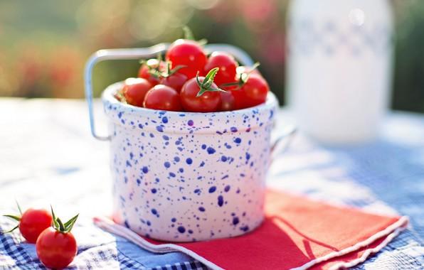 Картинка помидоры, томаты, ведерко, черри