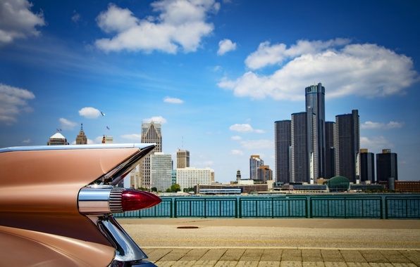 Картинка здания, крыло, автомобиль, архитектура, Detroit, renaissance center