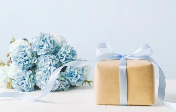 Картинка цветы, подарок, букет, лента, box, blue, flowers, gift, ribbon