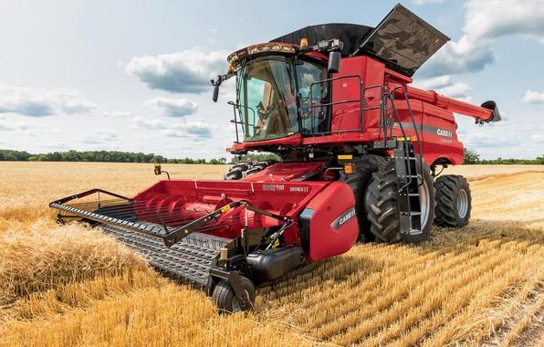 Картинка поле, техника, сено, трактор, 8240, Case IH, Axial-Flow