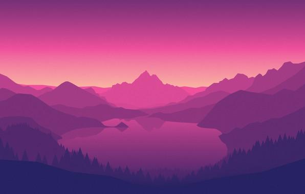 Картинка Горы, Игра, Озеро, Лес, Вид, Холмы, Пейзаж, Фиолетовый, Campo Santo, Firewatch, Пожарный дозор