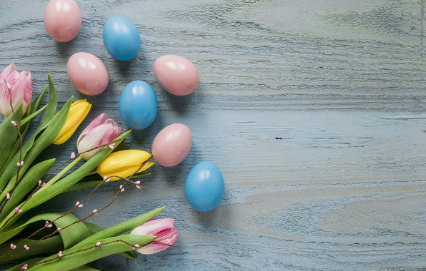Картинка цветы, весна, желтые, Пасха, тюльпаны, розовые, yellow, wood, pink, flowers, tulips, spring, Easter, eggs, decoration, …