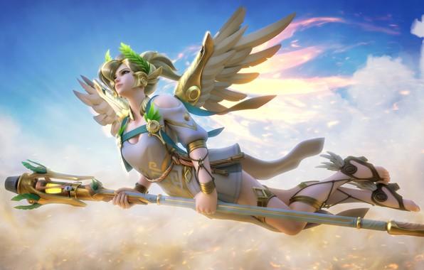 Картинка girl, game, sky, weapon, cloud, wings, power, pretty, angel, blonde, powerful, bishojo, seifuku, kumo, Overwatch, …
