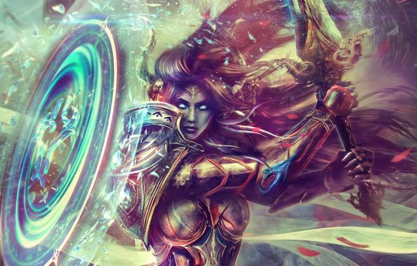 Картинка девушка, волосы, красота, меч, щит, warcraft, wow, art, world of warcraft, доспех, paladin, draenei