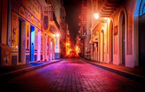 Картинка дорога, ночь, огни, улица, дома, фонари, тротуар, Puerto Rico, San Juan