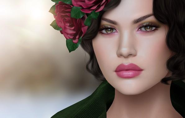 Картинка девушка, цветы, лицо, волосы, венок
