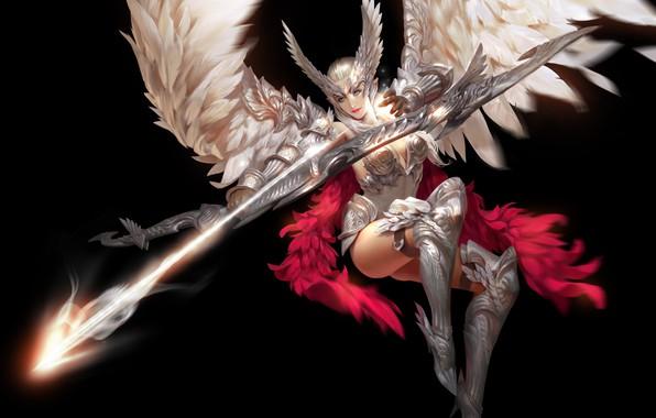 Картинка взгляд, девушка, поза, оружие, фон, крылья, перья, арт, костюм