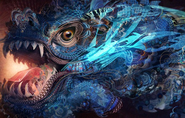 Картинка colors, colorful, abstract, fantasy, texture, dragon, eye, rendering, digital art, artwork, jaws, Psychedelic