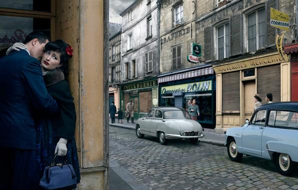 Фото обои авто, любовь, город, ретро, улица, пара, Stories