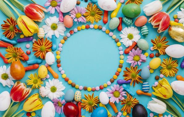Картинка шары, яйца, конфеты, пасха, Праздник, хризантемы