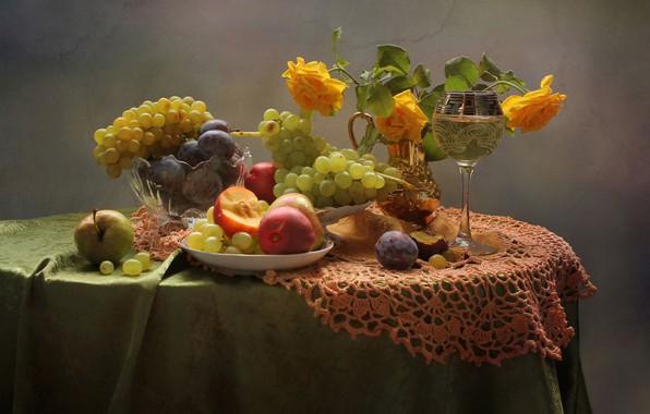 Картинка лето, вино, розы, август, фрукты, натюрморт, нектарины, сливы. виноград