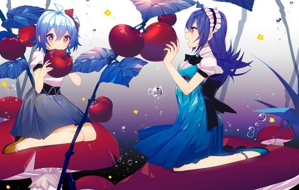 Картинка девушки, яблоки, аниме