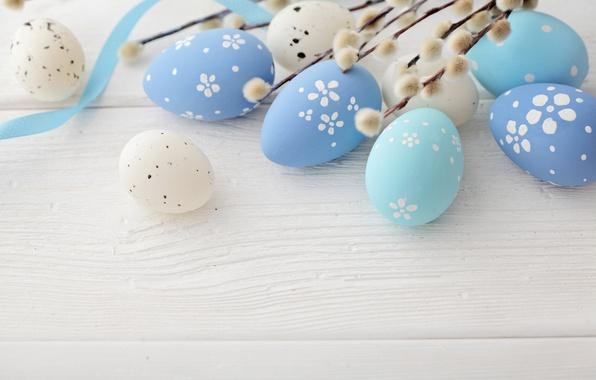 Картинка Пасха, верба, blue, spring, eggs, Happy Easter, Easter eggs