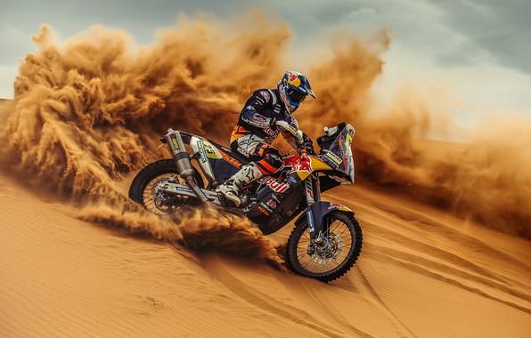 Картинка Песок, Спорт, Занос, Мотоцикл, Гонщик, Мото, KTM, Bike, Rally, Dakar, Дакар, Ралли, Moto, Motorbike, Дюна