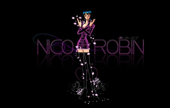 Картинка One Piece, anime, black background, manga, anime girl, Nico Robin