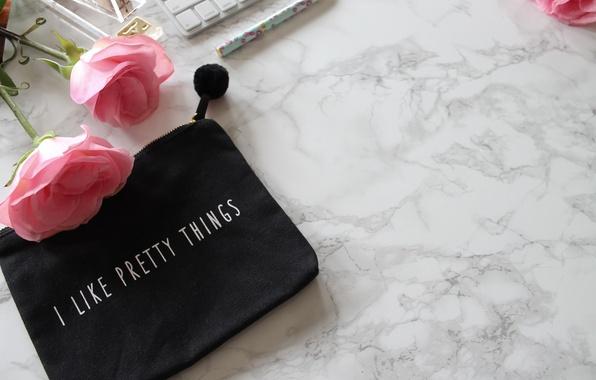 Картинка розы, ручка, pink, flowers, roses, keyboard, marble
