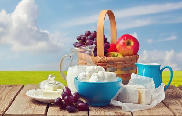 Картинка поле, небо, солнце, облака, пейзаж, стол, фон, корзина, яблоки, доски, масло, сыр, молоко, горизонт, тарелка, …