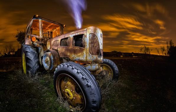 Картинка машина, ночь, трактор