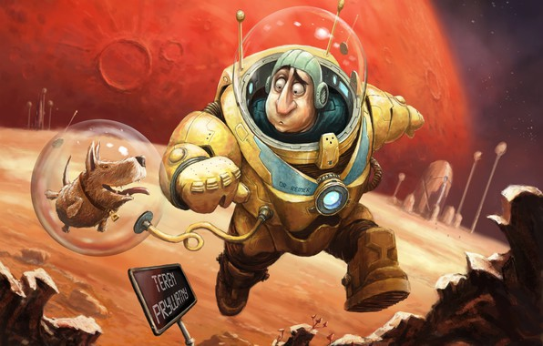Картинка фантастика, планета, собака, космонавт, арт, Illustrator, фрагмент, Tomek Larek, Expedition to Mars - cover art