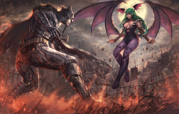 Картинка battlefield, girl, game, Morrigan, Batman, man, cartoon, fight, bat, Capcom, hero, film, animated film, DC …