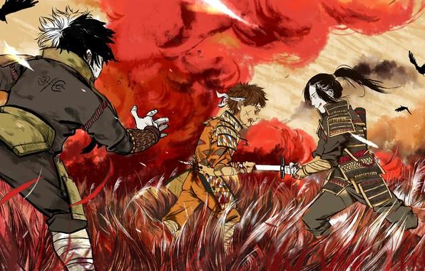 Картинка blood, сражение, Naruto, war, dead, katana, brothers, Uchiha, kids, Senju, Kawarama Senju, Itama Senju, by …
