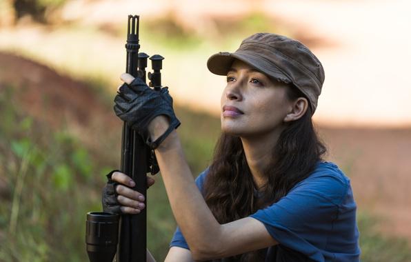 Картинка оружие, The Walking Dead, Christian Serratos, Rosita, Season 7