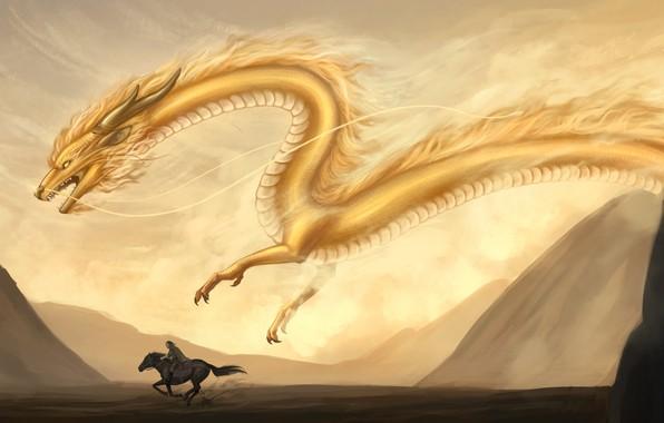 Картинка песок, горы, желтый, животное, дракон, лошадь, фэнтези, арт, всадник, летит