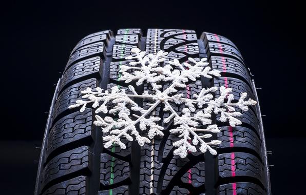 Картинка макро, зимние, колесо, размытость, снежинка, боке, wheel, протектор, шина, snowflake, wallpaper., автомобильное, tyre
