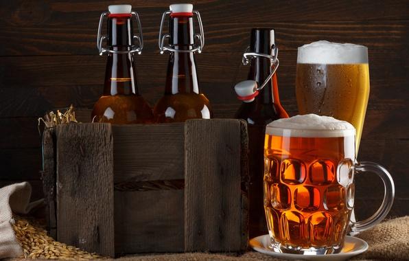 Картинка пена, бокал, пиво, кружка, бутылки, ящик, мешковина, зёрна