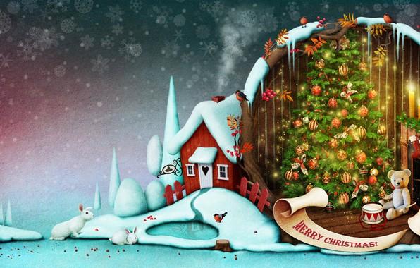 Картинка зима, снег, снежинки, фон, праздник, шары, игрушки, дым, забор, новый год, свечи, арт, мишка, зайцы, …