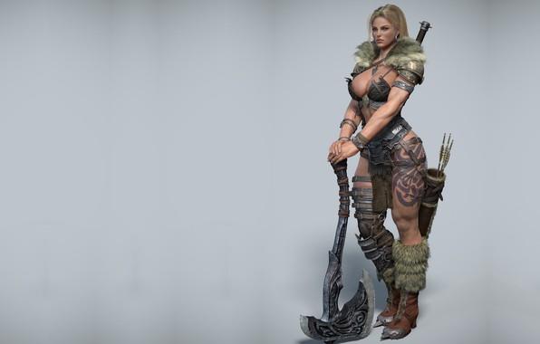 Картинка девушка, воин, арт, викинг, Norse, дизайн костюма, Gilberto Magno