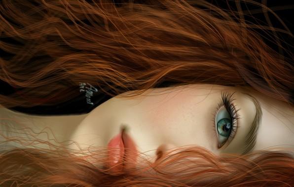Картинка взгляд, девушка, лицо, глаз, волосы, арт, губы, рыжая