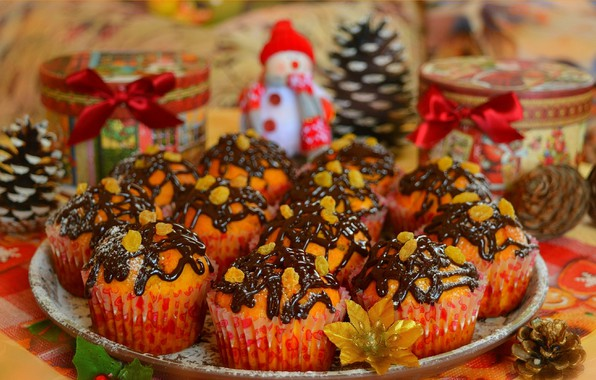 Картинка Шоколад, Chocolate, Кексы, Cupcakes, Крем