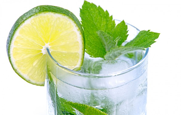 Картинка стакан, лёд, долька, листик, лайм, напиток, мята, лимонад, мохито