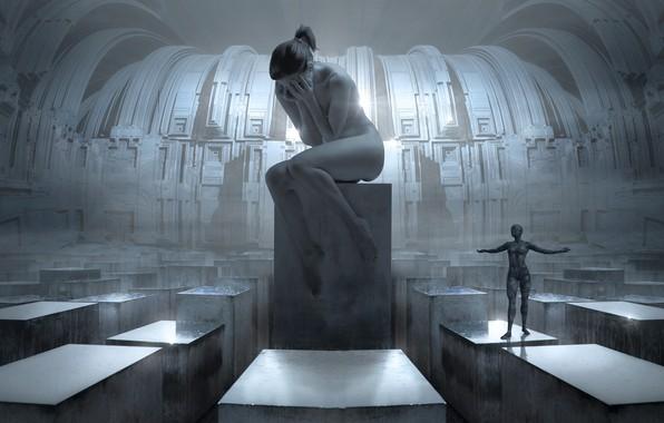Картинка девушка, свет, пространство, будущее, рендеринг, эмоции, серый, фантастика, конструкция, женщина, серебро, человек, отчаяние, структура, технологии, …