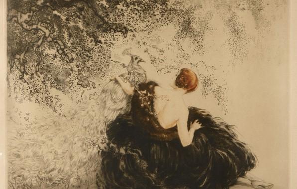Картинка 1923, Louis Icart, арт-деко, офорт и аквати, Белый павлин