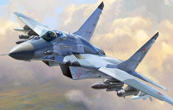 Картинка четвёртого поколения, ВВС России, Fulcrum, ОКБ МиГ, МиГ-29СМТ, советский многоцелевой истребитель, модернизированный вариант истребителя МиГ-29СМ, ...