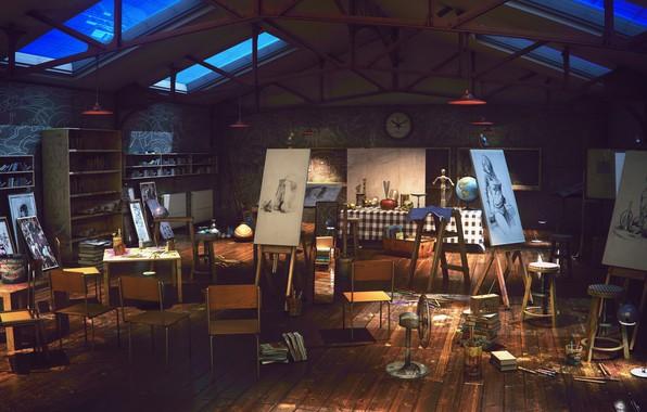 Картинка мастерская, студия, Art Class Night, final render