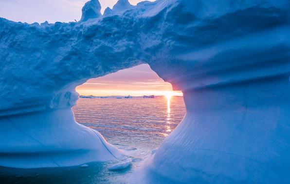 Картинка лед, зима, море, небо, вода, солнце, снег, пейзаж, природа, синева, рассвет, лёд, утро, ледник, айсберг, …