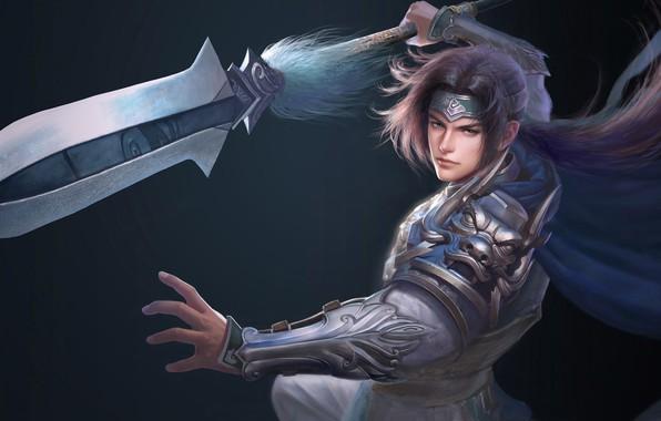 Картинка оружие, меч, воин, фэнтези, арт, Ruoxin Zhang, Zhao Yun