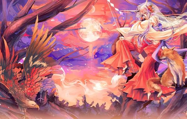 Картинка орел, крылья, рога, полнолуние, жрица, на дереве, японская одежда, лисица, оперение, kitsune