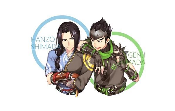 Картинка арт, братья, Overwatch, Genji Shimada, Hanzo Kabuki